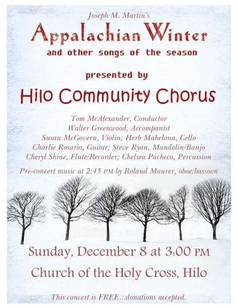 Upcoming Concert: Sunday December 8 2013; 2:45 PM